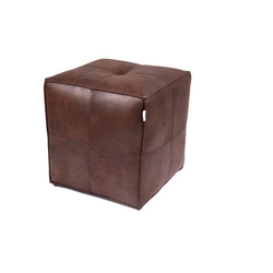 CASA COLLECTION - POUF MARRONE CON PROFILI A INCROCIO BIANCHI