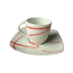 Andrea Fontebasso - Tazza caffe' con piatto decorato 4978 red power bicchiere e tazza