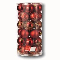 G - Set 30 sfere natalizie grandi rosso