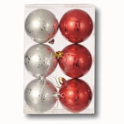 G - Set 6 sfere natalizie silver e rosse