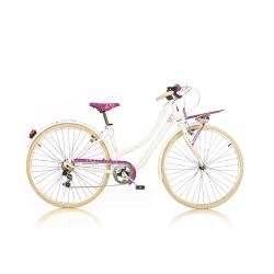 DINO BIKES - 1028STD Adulto unisex Città Metallo Rosa, Bianco bicicletta