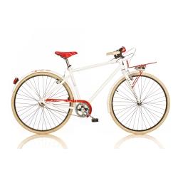 DINO BIKES - 1028SU Adulto unisex Città Metallo Rosso, Bianco bicicletta