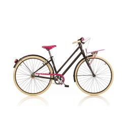 DINO BIKES - 1028SD Adulto unisex Città Metallo Nero, Rosa bicicletta