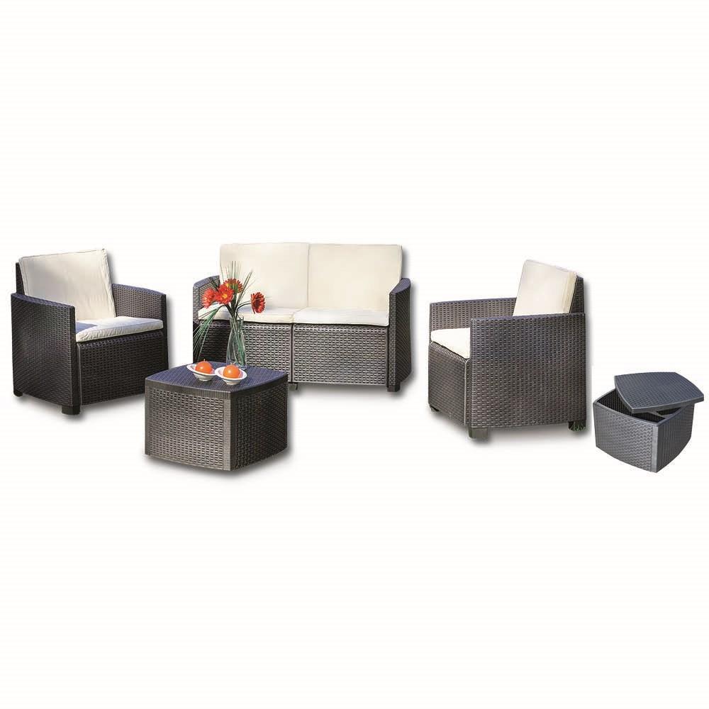 Garden collection salotti 01441 antracite set mobili da for Grancasa arredo giardino
